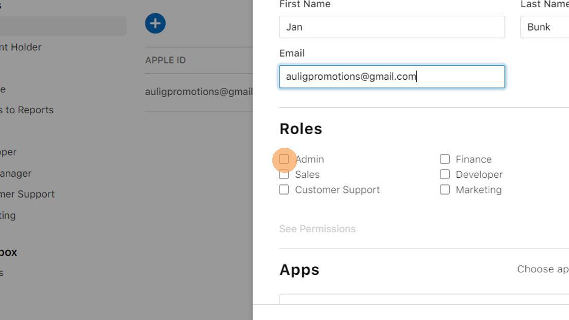9. Under 'Roles', click the 'Admin' checkbox.