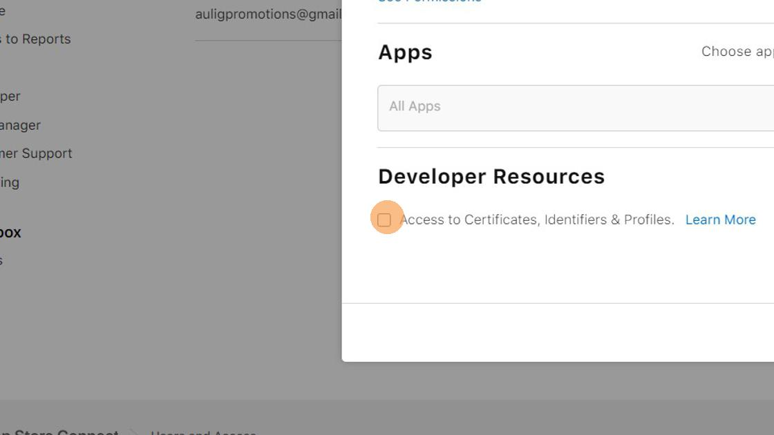 10. Tick the checkbox 'Access to Certificates, Identifiers & Profiles'. If this checkbox is greyed out, you probably enrolled into the developer program as an individual. Please contact Apple support for help with upgrading it to an organization account.